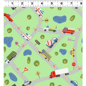Keep On Truck'n Children's Fabric Yardage Tow Trucks Fire Engines Colors Green Red Blue Yellow White Black