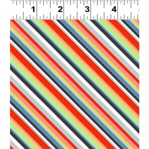 Keep On Truck'n Children's Fabric Yardage Vertical Stripes in Red Blue Green White Gray Cotton 44 Inches Wide