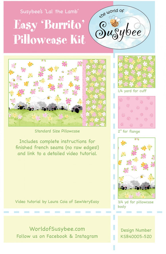Susybee Lal The Lamb Pillowcase Fabric Kit Complete All Fabric