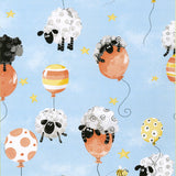 Lewe The Ewe Aqua Multi Balloons Children's Cotton Fabric from Susybee 44 Inches Wide colors of blue orange yellow black gray