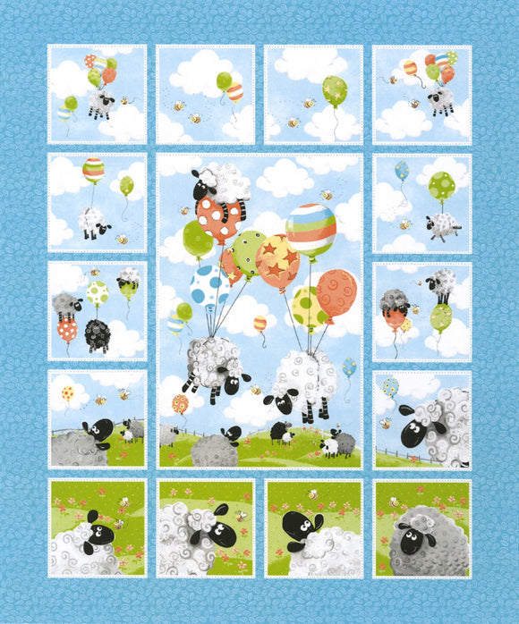 Lew The Ewe Balloons Children's Fabric Panel 36 x 43 Inches Cotton from Susybee Collections shades of blue green yellow orange white gray and black