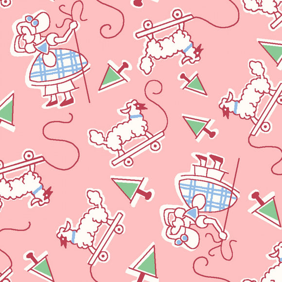 Little Bo Peep Children's Nursery Rhymes reproduction cotton fabric pink background with accents in shades of pink and blue