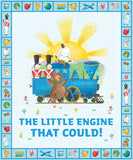 Little Engine That Could Children's Fabric Panel 36 x 44 Inches from Riley Blake colors blue green yellow gold red orange pink blue
