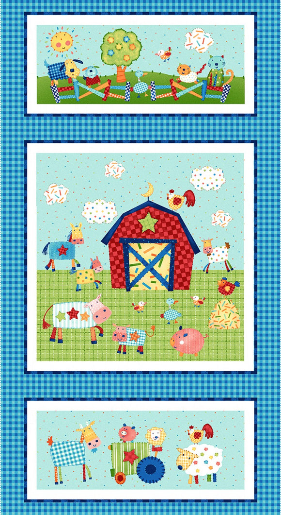 Little Red Barn Children's Fabric Panel colors of red blue white yellow green 24 x 44