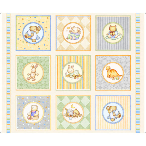 Lullaby Children's Fabric Panel Baby Toys Squares 35 x 44 Inches Yellow Blue Green Stripes Cotton