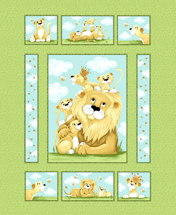 Lyon The Lion Children's Fabric Panel 36 x 44 Inches from Susybee Fabric Collections Colors In Shade of Green Blue Brown