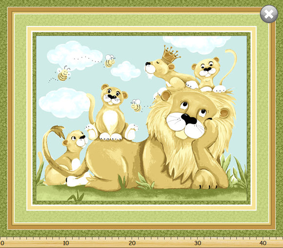 Susybee Lyon The Lion children's cotton play mat 36 x 44 inches featuring Lyon and four cubs in colors of brown gold green white blue