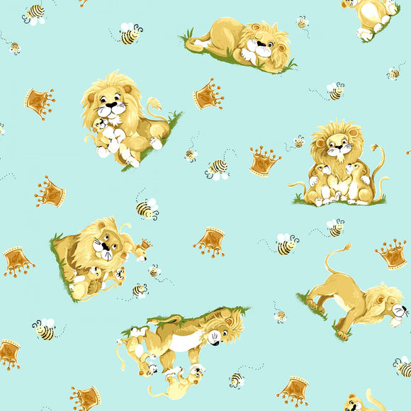 Lyon The Lion Children's Cotton Fabric Yardage from Susybee Fabric Collection 44 Inches Wide Lyon and Cub