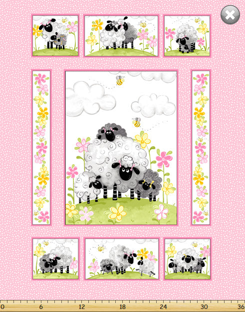 Lal The Lamb Mama Lal by Susybee Children's Fabric Panel Cotton 36 x 44 Inches Pink Yellow White Black Gray