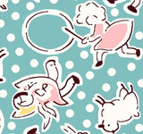 Mary Had A Little Lamb Children's Nursery Rhyme Reproduction Cotton Fabric Yardage in blue pink yellow and white