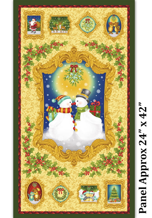 Christmas Mistletoe Holiday Fabric Panel 24 x 44 Inches