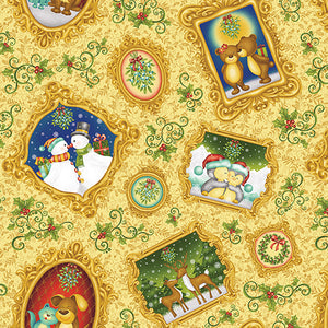 Christmas Holiday Mistletoe Cotton Fabric Multi Characters 44 Inches Wide