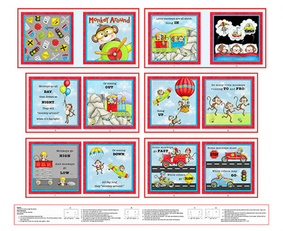 Monkey Around Children's Cloth Book Panel To Sew 12 pages including front and back cover in colors of red blue green yellow orange and black