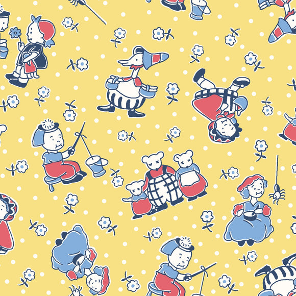 Mother Goose Nursery Rhymes Children's Cotton Fabric Yellow background with red blue and white nursery rhymes charaacters