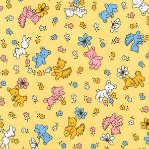 Naptime Children's Reproduction Fabric from Darlene Zimmerman Bunnies Teddie Bears Flowers Pink White Blue Yellow Cotton