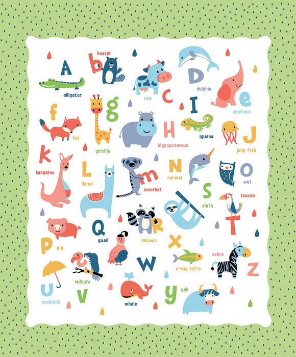 Noah's Ark children's cotton panel by Riley Blake.  Ark animals and alphabet are included.  Pastel colors of yellow, blue, pink and green.