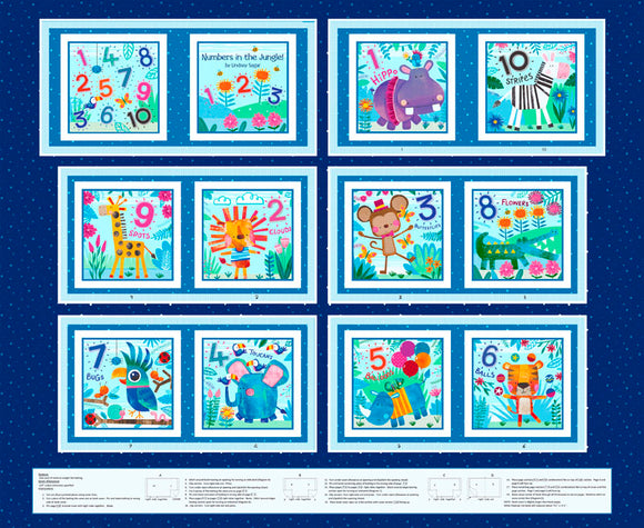 Numbers In The Jungle Children's Counting Cloth Book Panel To Sew 36 x 44 Inches. Bright primary colors with jungle animals.