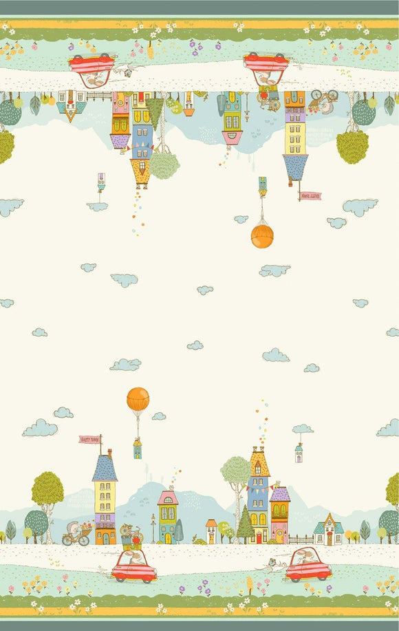 Off On A Trip Children's Fabric Cotton Double Border 24 Inch Repeat 44 Inches Wide
