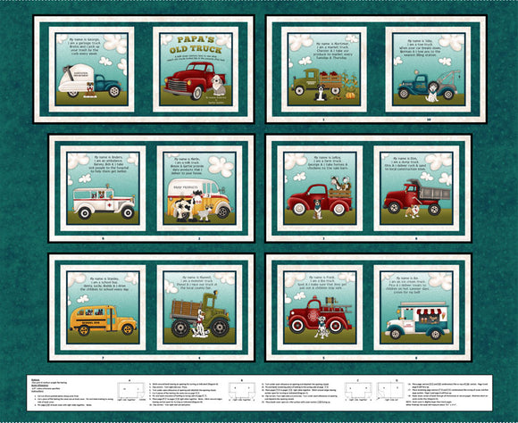 Papa's Old Truck Children's Book Panel colors of blue red brown green yellow brown 12 pages cotton