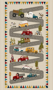Papa's Old Truck Children's Fabric Panel 24 x 44 Inches colors in red blue yellow green orange gray.