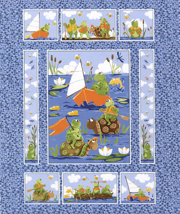 Paul and Sheldon Paddling Children's Cotton Fabric Panel To Sew from Susybee 36 x 44 Inches.  Frogs and Turtles paddling around a pond.