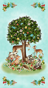 Peace In The Forest by Henry Glass featuring woodland animals displayed on a children's cotton fabric panel 23 x 44 inches