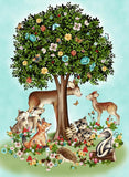 Peace In The Forest Cotton Children's Fabric Panel Featuring Woodland Animals staying together under a tree with spring like flowers