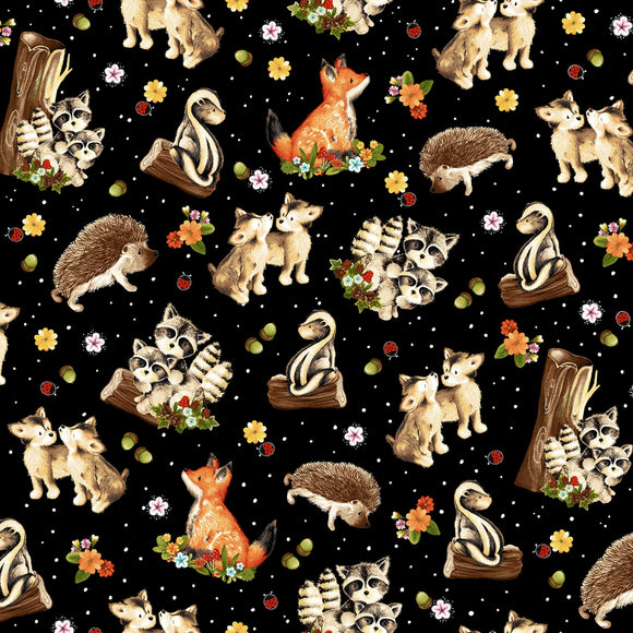 Peace In The Forest Children's Cotton Fabric Tossed Multi Baby Woodland Animals Black background
