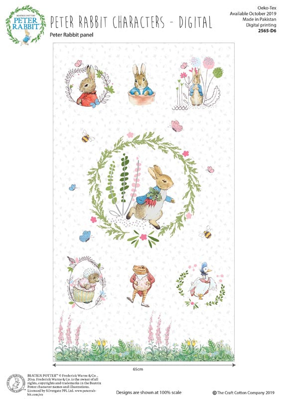 Peter Rabbit Digitally Printed Children's Cotton Fabric Panel To Sew 23 x 44 Inches White Background with pink brown pink green