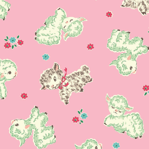 Dear Little World Playground Children's Cotton Fabric Pink background and white lambs