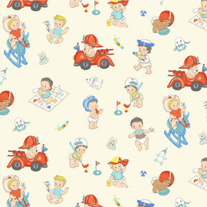 Playtime toys from Michael Miller Baby Boomers cotton fabric collection.  Vintage children and toys in bright primary colors