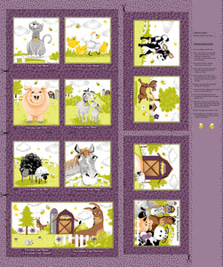 Purple Barnyard Buddies children's cotton cloth book panel to sew.  Shades of purple, yellow, gold, green and gray.