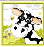 Purple Barnyard Buddies children's cotton fabric panel 36 x 45 inches.  Barnyard animals in shades of purple, yellow, blue and green white and black cow in a field of flowers and bees