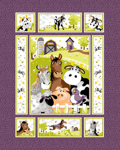 Purple Barnyard Buddies children's cotton fabric panel 36 x 45 inches.  Barnyard animals in shades of purple, yellow, blue and green.