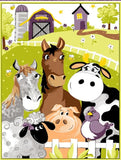 Purple Barnyard Buddies children's cotton fabric panel 36 x 45 inches.  Barnyard animals in shades of purple, yellow, blue and green horses cows pigs sheep bird and barns
