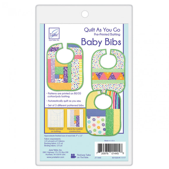 Quilt As You Go Sew By Number Baby Bib Patterns Printed on Batting by June Tailor