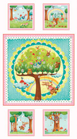 Rainbow Woodland Children's Fabric Panel 24 x 41 Inches from Red Rooster Fabrics Bunnies Owls