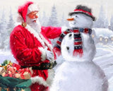 Santa and The Snowman Christmas Holiday Fabric Panel 36 x 44 Inches Colors of Red Green White Black