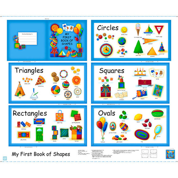 Sew And Go Children's Cloth Book Panel To Sew Shapes in Primary Colors 36 x 44 Inches