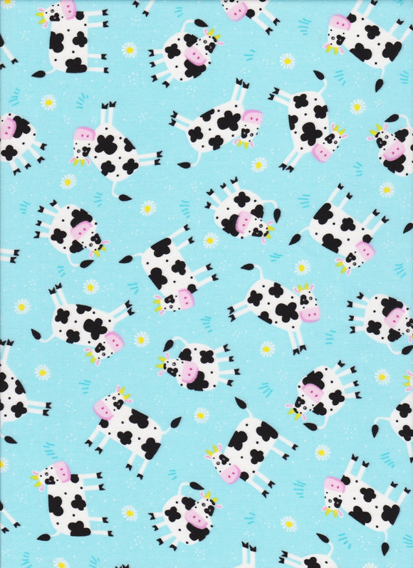 Silly Cows Children's Fabric 44 Inches Wide Blue White Black Pink Yellow Colors