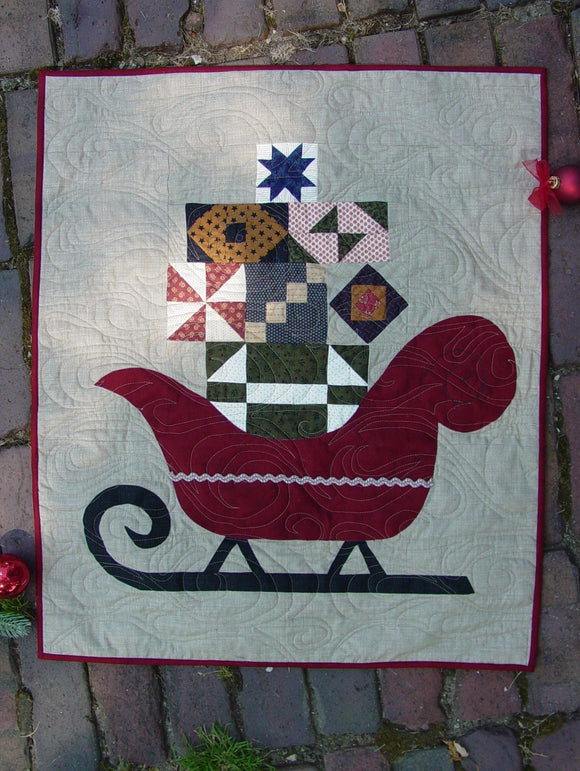 Sleigh Christmas Holiday Quilt Pattern piecing and applique by Deb Eggers from Cottage Rose Quilt Shop