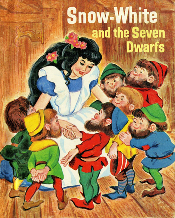 Snow White And The Seven Dwarfs Vintage Digitally Printed Cotton Fabric Panel 36 x 44 Inches from Four Seasons