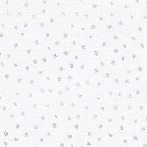 sparkle spots children's fabric by Fabric Arts White background with silver dots cotton