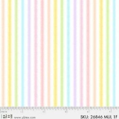 Sunny Days Children's Cotton Flannel Pastel Stripes 44 Inches Wide Pink Yellow Blue Green Lavender