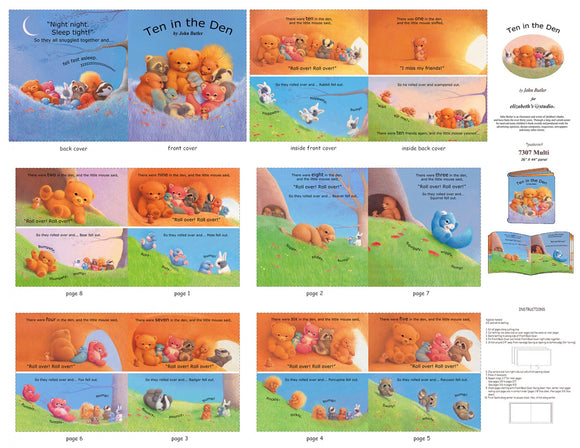 Ten In The Den Children's Cloth Book Panel To Sew 12 pages including front and back cover woodland animals
