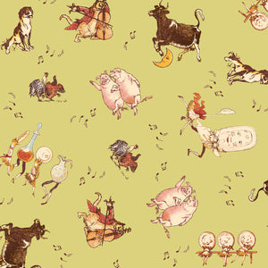 The Dance from The Cat and The Fiddle Children's Fabric 44 Inches Wide Green Pink Brown White