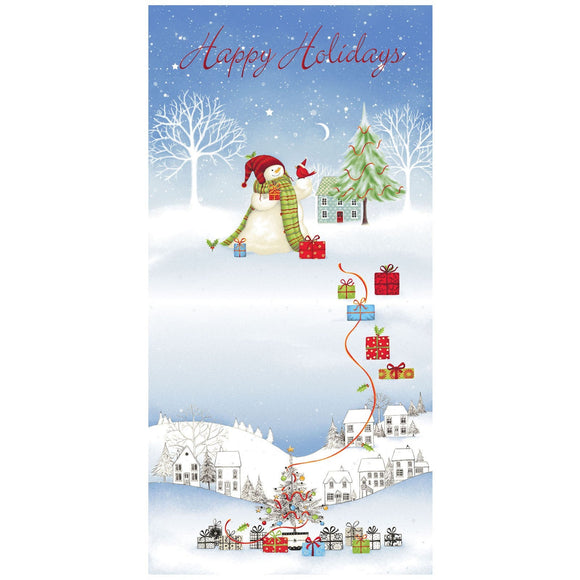 Tis The Season Christmas Holiday Snowman Cotton Panel from Red Rooster Collections 24 x 43 Inches