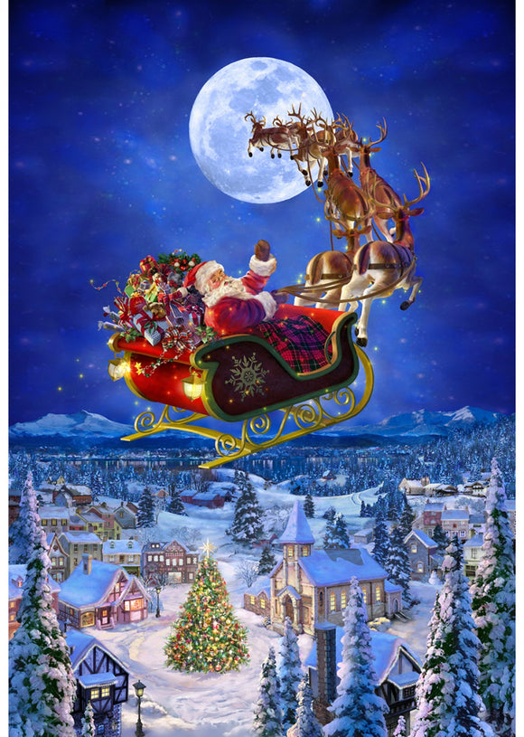 To All A Good Night Santa On His Sleigh And Reindeer Fabric Panel 30 x 43 Inches Flying In The Sky Colors in blue red green brown white