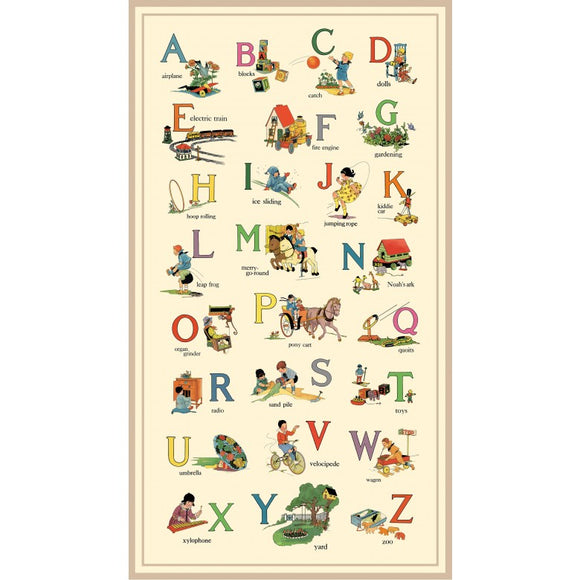 Vintage Treasures Alphabet Digitally Printed Children's Fabric Panel Cotton  Beige Blue Yellow Red Green Lavender