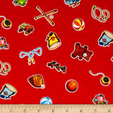Red Wee Play Children's Cotton Fabric Used for Second Border for Children's Alphabet Quilt Kit.